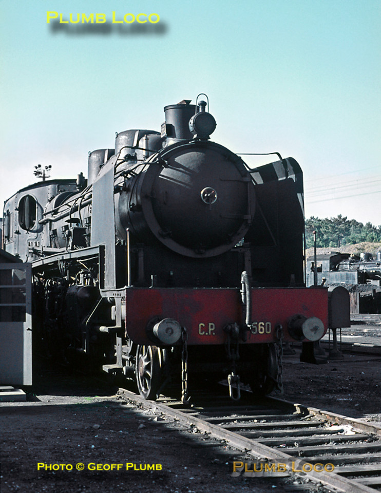 Henschel 1924 built four cylinder compound 4-6-2 No. 560 looks as though it has been in use until fairly recently, but is now stored at Contumil depot in Porto. Sunday 8th November 1970. Slide No. 5925.