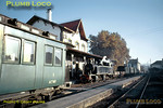 On the beautiful Autumn morning of Thursday 5th November 1970, 2-4-6-0T Mallet No. E208 arrives at Vila Real from Chaves, to form the 09:16 mixed train to Régua, a very nice clerestory balcony First Class bogie coach in the foreground. Slide No. 5784.