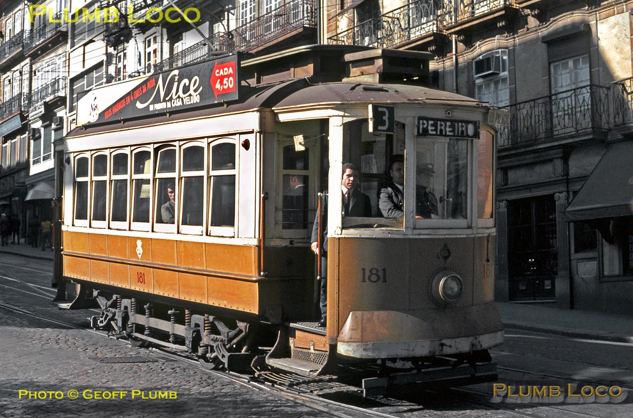 Porto Tram No. 181, Route 3 from Boavista to Pereiro, 2nd November 1969