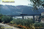 Metre gauge 0-6-0T No. E54 propels a short train from the works at Corgo across the viaduct over the river of the same name, as it works back to Régua on Tuesday 3rd November 1970. The Corgo line can be seen bottom left of the picture. Slide No. 5721.