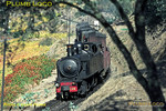 Mallet 2-4-6-0T No. E206 drifts down the last part of the Corgo valley as it approaches Corgo station and the junction with the main line for the last stretch into Régua. Its mixed train from Chaves is due to arrive in Régua at 14:46. Tuesday 3rd November 1970. Slide No. 5726.