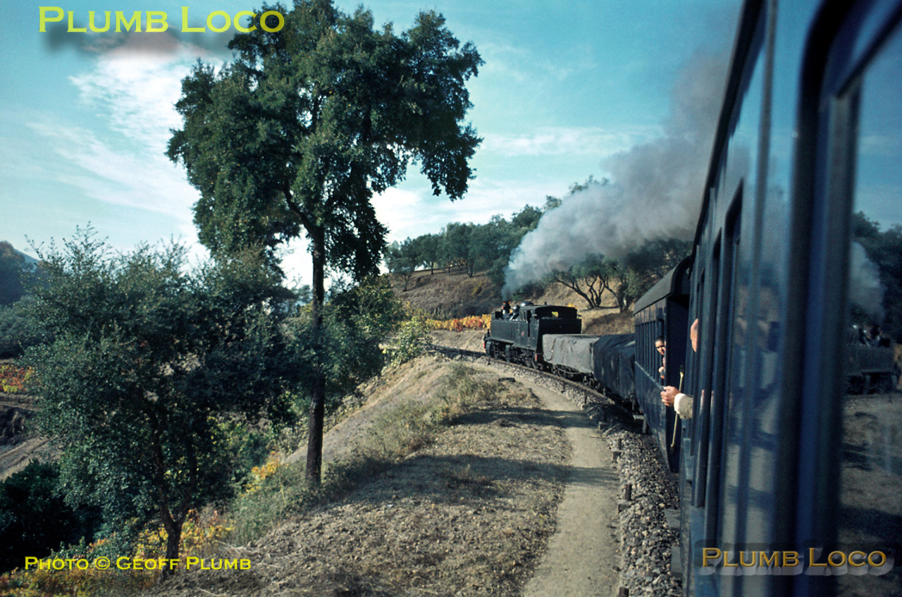 I boarded the 10:21 train from Régua to Chaves at Tanha for the ride behind E207 to Vila Real. View from the train as it climbs around the many curves around Carrazedo on Wednesday 4th November 1970. Slide No. 5761.