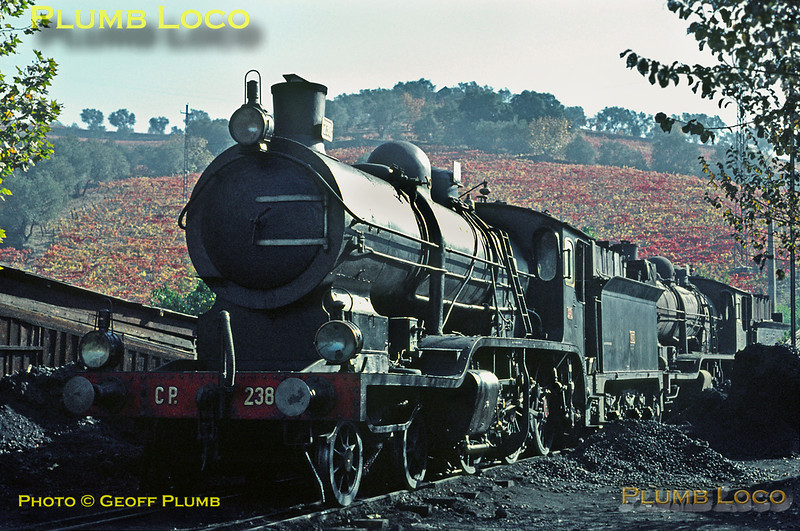 The last two remaining Borsig built compound 4-6-0s, Nos. 238 and 248, at Régua shed on Tuesday 3rd November 1970. It looks as though 238 is still in use but 248 has run its last, now looking fairly forlorn. It had been in use a year earlier as I travelled behind it on my previous visit. Slide No. 5698.