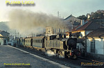 Soon after 281 had departed with the 17:35 train to Barca d'Alva, Mallet 2-4-6-0T No. E206 leaves Régua station with the 17:45 mixed train to Chaves, the sun now rapidly setting. Tuesday 3rd November 1970. Slide No. 5740.