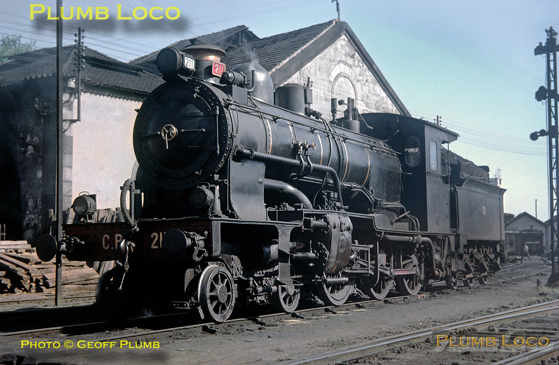 From the Geoff Plumb Collection of original slides. CP No. 211 simmers outside the depot at Porto Campanha in lovely spring sunshine. This is a 4 cylinder compound 4-6-0, built by Henschel in 1924 and a rather handsome machine. I saw it at Contumil in 1969 and again at Pocinho in 1970, sadly out of use on both occasions. Saturday 9th May 1964. Photo by John F. Robinson. Collect Slide JFR34.
