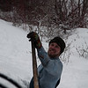 Maintenance of Way (MOW) Gary shows deepness of the snow!