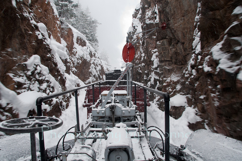 Train going through Rockwood cut.