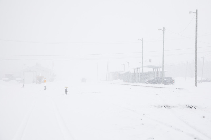 Moosonee train station during heavy snowfall.