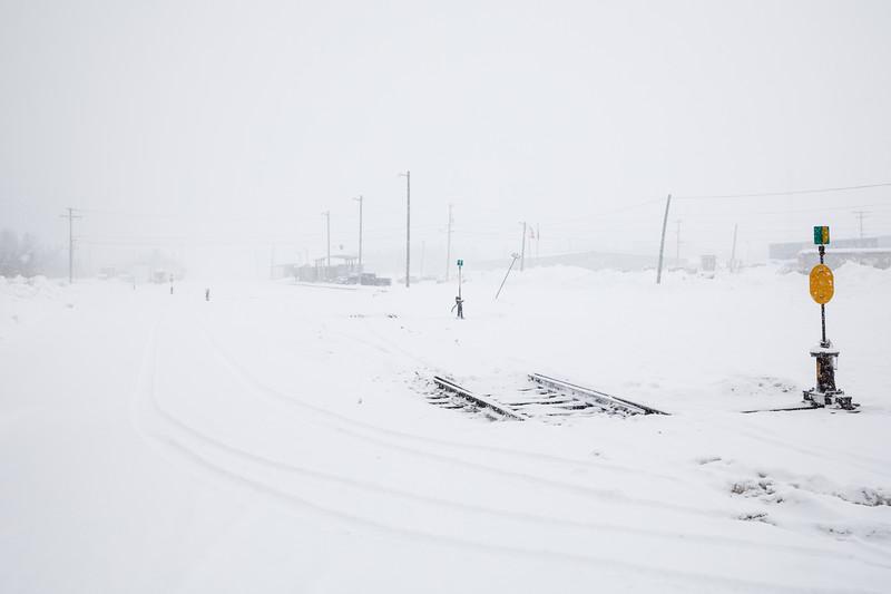 Moosonee train station during heavy snowfall.