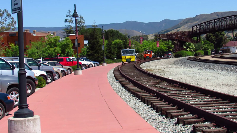 Speeders carry riders on $3 fun runs at San Luis Obispo's new railroad museum. The museum was giving the public a special peek on National Train Day 2013, but will not be open on a regular basis for a while yet.
