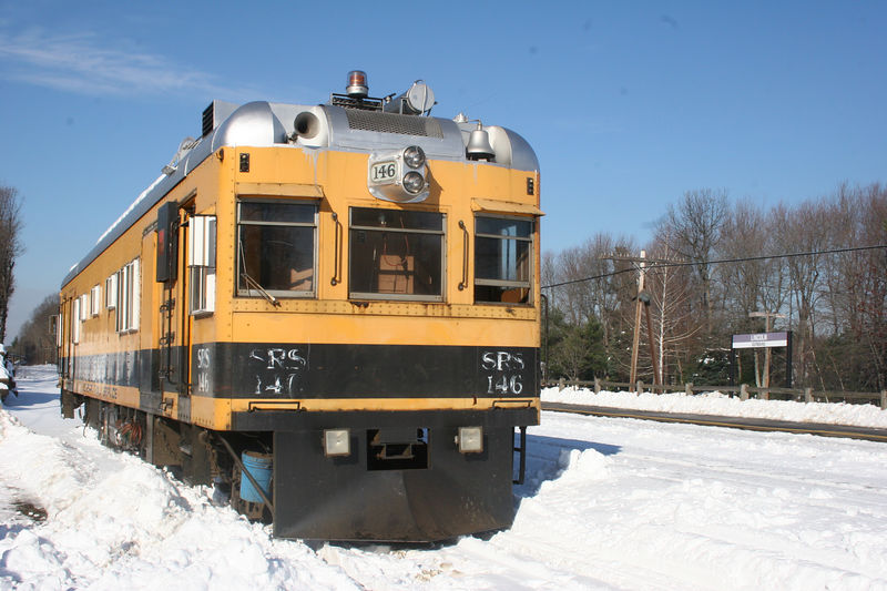 SRS 146 pulls into the siding to let a train by.