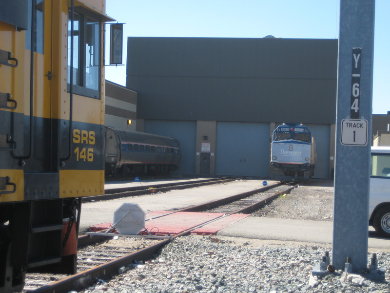 At the Southampton St. Amtrak facility with the Downeaster's 90213 facing us.