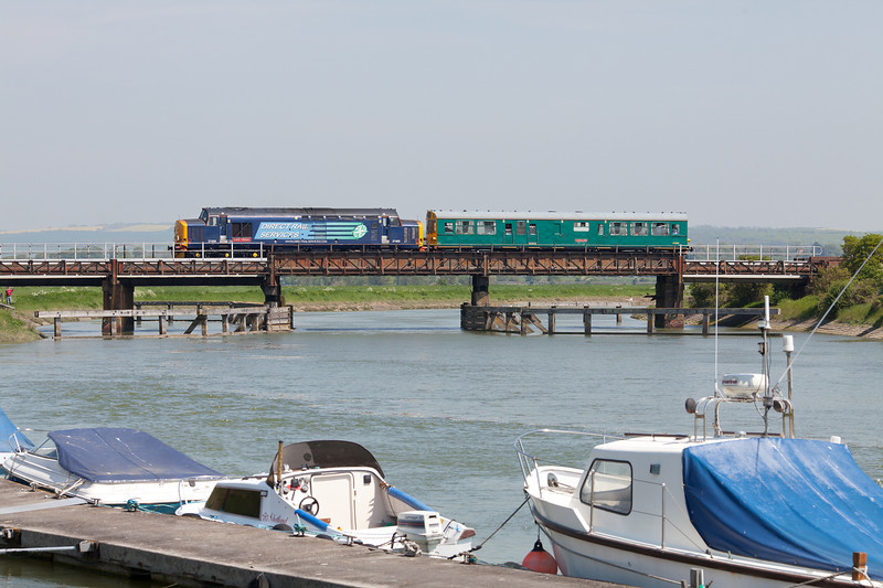 In stunning May sunshine, 37409 'Lord Hinton' pushes 975025 'Caroline' over the River Arun at Ford, while working the 5Z02 08.53 Kensington Olympia-Kensington Olympia via Brighton and Bognor Regis general managers inspection train. 22.5.12