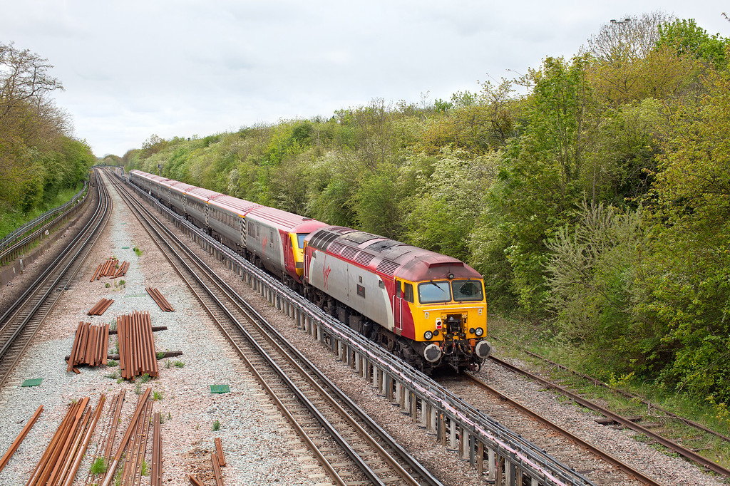 57311 ' Parker' forms the rear of the 1Z05 11.11 London Euston-Nuneaton diverted virgin service as it passes through Northolt.