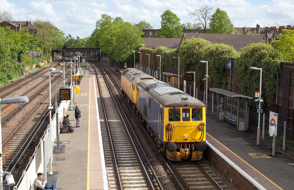 GBRF's 73213 towes Network rails 57310 through Wandsworth Road en-route to Eastleigh from Tonbridge Yard. 9.5.13