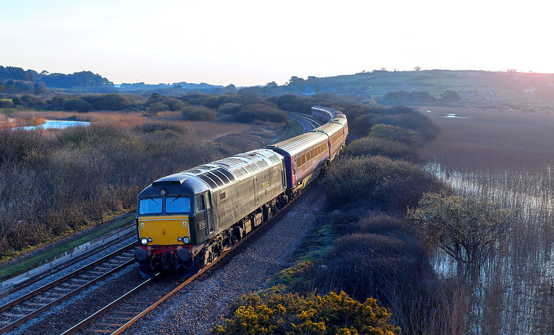 "On an absolutely freezing April morning, 57604 ""Pendennis Castle"" approaches Marazion with the 1C99 23.50 London Paddington-Penzance overnight sleeper.4.4.13"