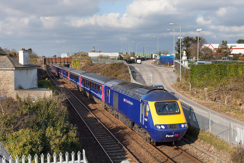 43188 leads the 08.44 Penzance-London Paddington past Carn Brea near Camborne. 5.4.13