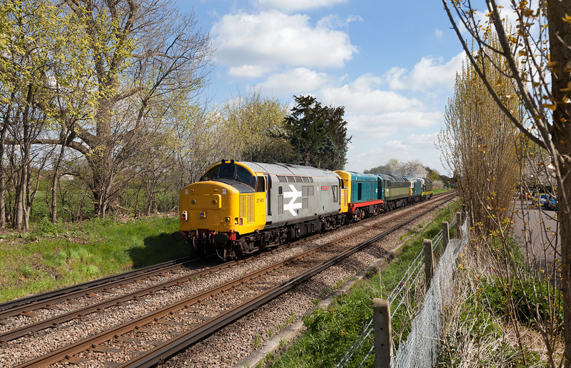 37901 forms the rear of 0Z20 convoy at Bridge Road, Hounslow.30.4.13