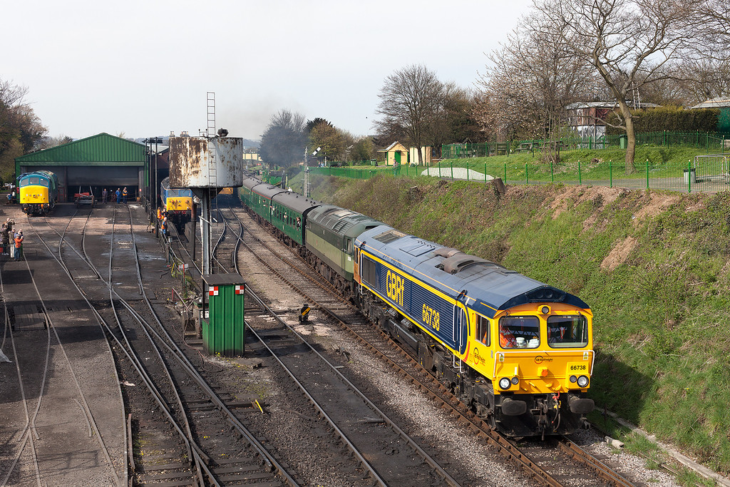 GB railfreights 66738 pilots D1501 on the 09.45 Alresford-Alton away from a busy Ropley during the 2013 Mid Hants Diesel Gala.28.4.13