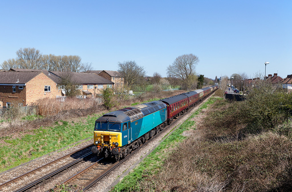 """In perfect spring weather 57314 approaches Bridge Road, Hounslow with the 1Z60 06.32 Skegness-Windsor & Eton Riverside """"Windsor and Eton Riverside"""" West Coast railtours excursion. 20.4.13"""