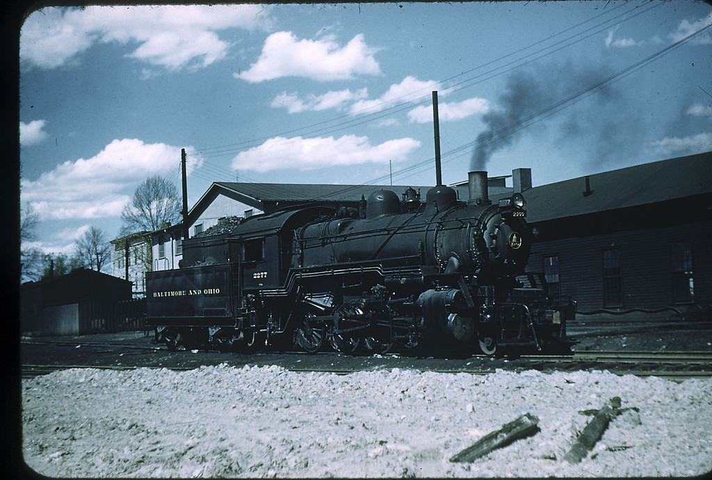 1955 photo<br /> Baltimore & Ohio Railroad<br /> 2-8-0