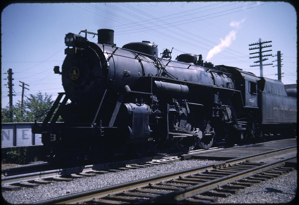 1952 photo<br /> Baltimore & Ohio Railroad<br /> Sidney Ohio<br /> No. 5213 4-6-2 P5A <br /> Baldwin Locomotive Works Built 1919