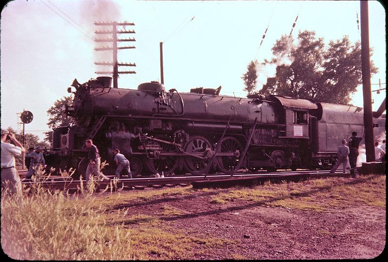 1956 photo<br /> Baltimore & Ohio Railroad<br /> Newark, NJ<br /> Last run Cincinnati to Pittsburgh<br /> Class P-7 4-6-2
