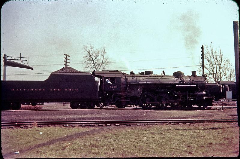 1956 photo<br /> Baltimore & Ohio Railroad<br /> Newark, Ohio<br /> Class P-7 4-6-2