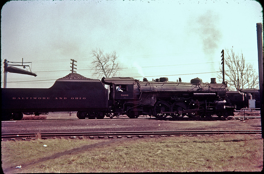 1956 photo<br /> Baltimore & Ohio Railroad<br /> Newark, Ohio<br /> Class P-7 4-6-2