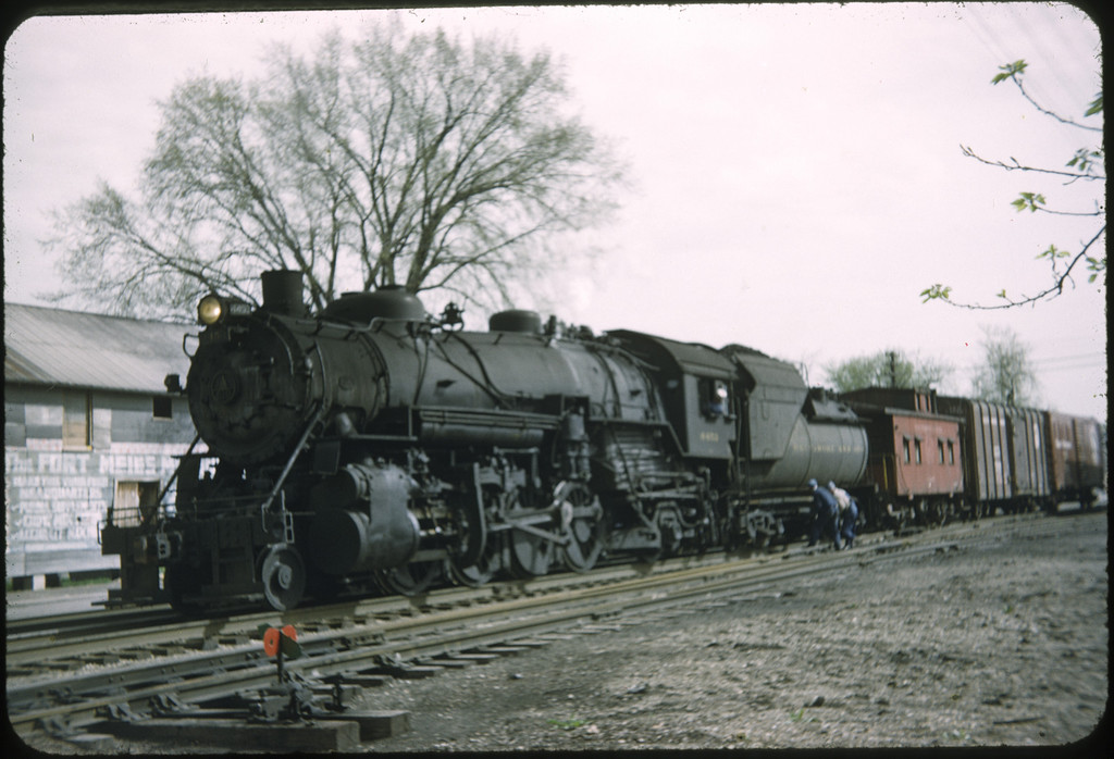 1955 photo<br /> Baltimore & Ohio Railroad<br /> Perrysburg, OH local freight<br /> Class Q4B 2-8-2
