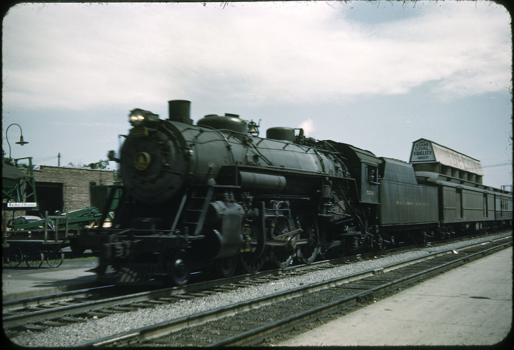 1953 photo<br /> Baltimore & Ohio Railroad<br /> Lima, Ohio<br /> Class P5A <br /> Built 1919 Baldwin Locomotive Works