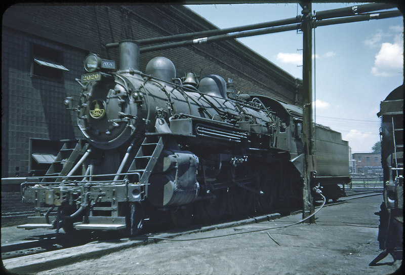 1953 photo<br /> Baltimore & Ohio Railroad<br /> #2020 4-6-0 Class B-18C<br /> Built in 1901 by Int. Pwr. Co., rebuilt in 1927 by the B&O RR