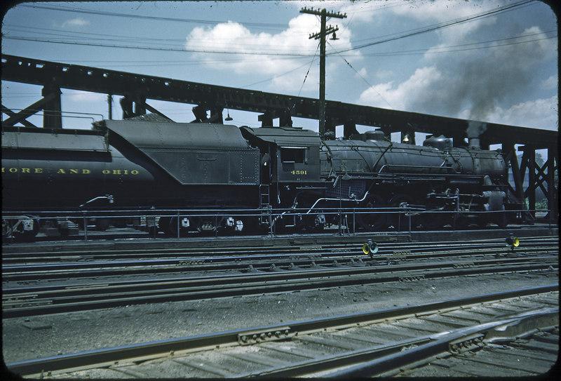 1953 photo<br /> Baltimore & Ohio Railroad<br /> Parkersburg, West Virginia<br /> #4591 Class Q3 2-8-2<br /> Built by Baldwin Locomotive Works in 1922-23