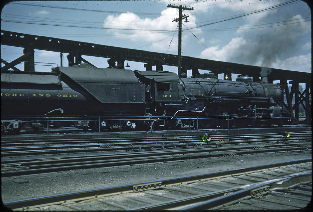 1953 photo<br /> Baltimore & Ohio Railroad<br /> Parkersburg, West Virginia<br /> #4591 Class Q3 2-8-2<br /> Built by Baldwin Locomotive Works in 1922-23