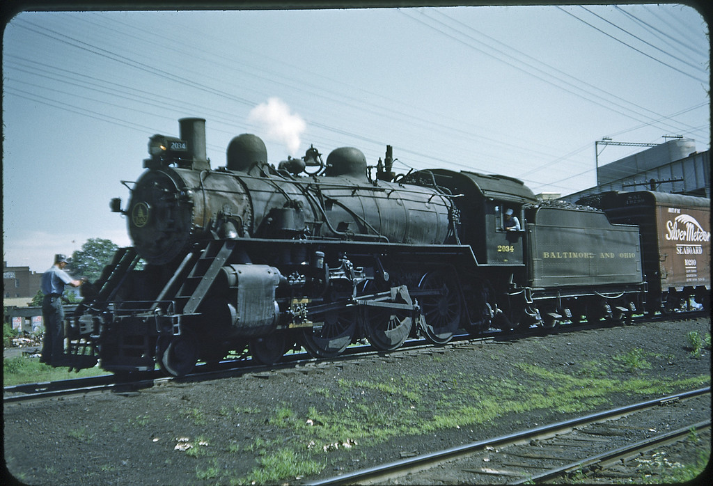 1953 photo<br /> Baltimore & Ohio Railroad<br /> #2034 4-6-0 Class B-18D<br /> Built in 1901 by Int. Pwr. Co., rebuilt 1927