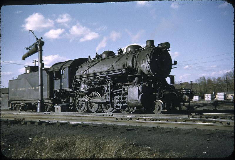 1952 photo<br /> Baltimore & Ohio Railroad<br /> #2721 2-8-0 Class E27CA<br /> Built by Alco in 1910