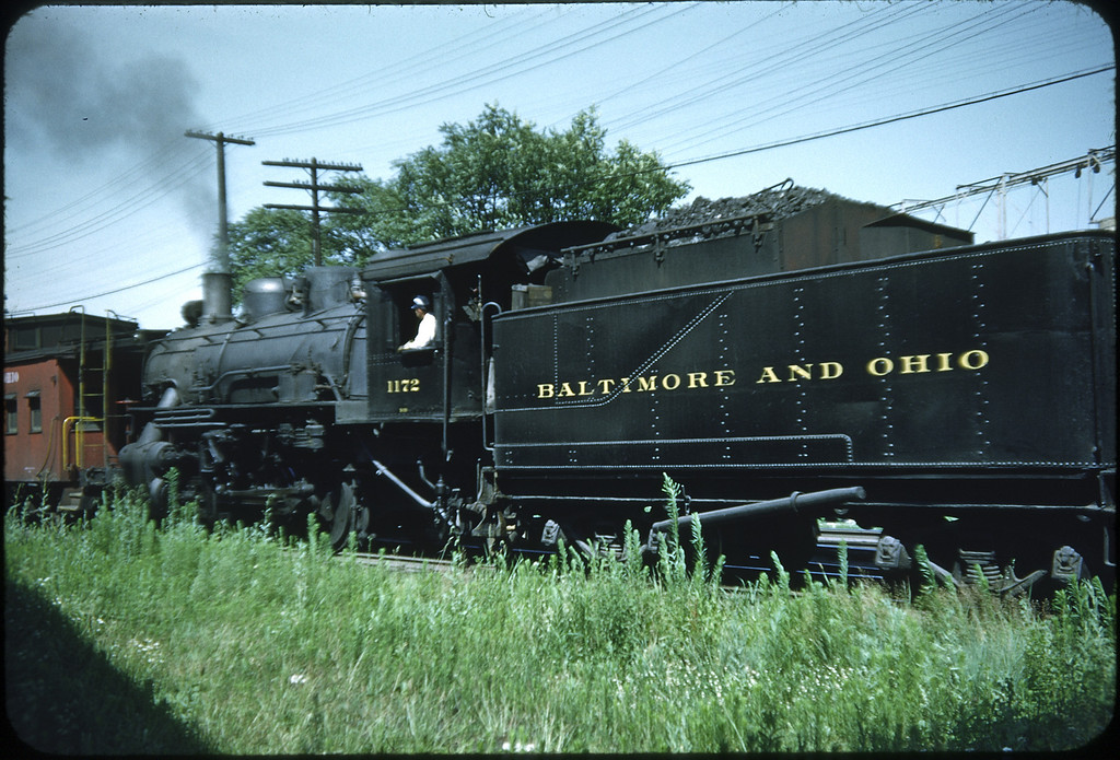 1953 photo<br /> Baltimore & Ohio Railroad<br /> #1172 Class D-7 0-6-0<br /> Built by Baldwin Locomotive Works in 1903