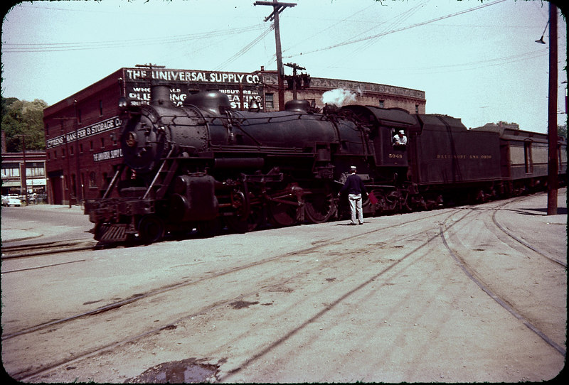 1956 photo<br /> Baltimore & Ohio Railroad<br /> Mount Claire<br /> Class P-aD Built 1928