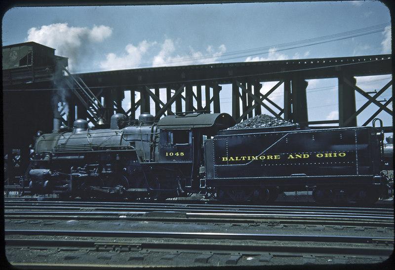1953 photo<br /> Baltimore & Ohio Railroad<br /> #1045 Class L-1A 0-8-0<br /> Built by Alco in 1923