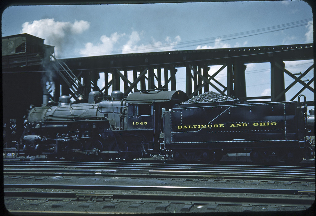 1953 photo<br /> Baltimore & Ohio Railroad<br /> #1045 Class L-1A 0-8-0<br /> Built by Alco in 1923