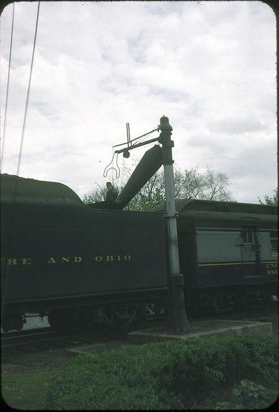1954 photo<br /> Baltimore & Ohio Railroad<br /> Class P-7 4-6-2 taking water