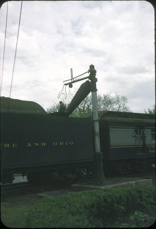 1954 photo<br /> Baltimore & Ohio Railroad<br /> Class P-7 4-6-2 taking water