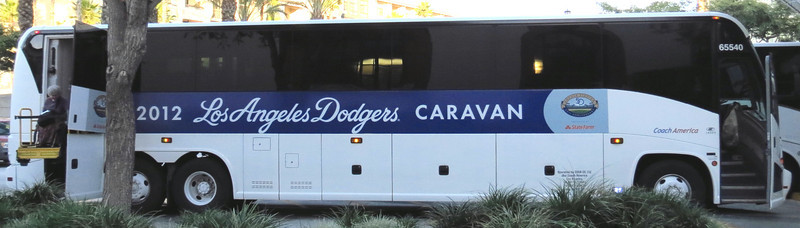 Executive Assistant Alice (at left) gets a lift down from the L.A. Dodgers Caravan bus that carried Team Whooz to Los Angeles (contracted by Amtrak to stand in for Pacific Surfliners which were not running due to the same trackwork that was forcing Coast Starlight detours) to be in position for the next day's northbound joyride.