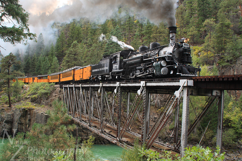 Durango and Silverton 473, crossing the High Bridge near Tacoma, Colorado.