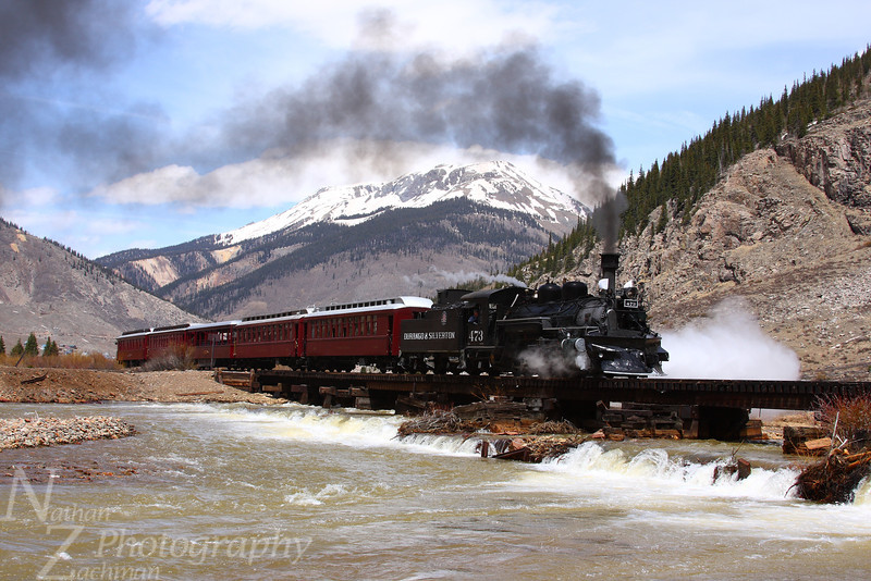 Durango and Silverton 473, crossing the Animas River south of Silverton, Colorado.