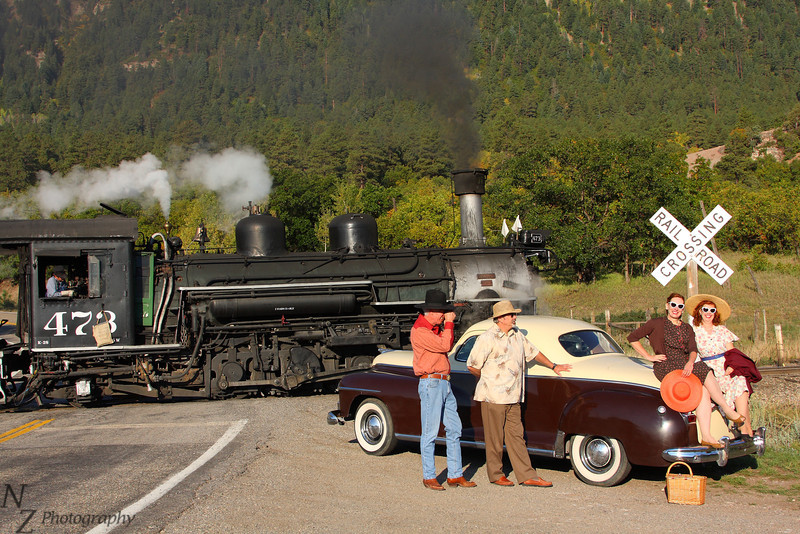 "A few of the great folks of the Victorian Aid Society,  <a href=""http://www.victorianaidsociety.org"">http://www.victorianaidsociety.org</a>, posing for a shot as the Rio Grande Slverton Mixed Freight passes."
