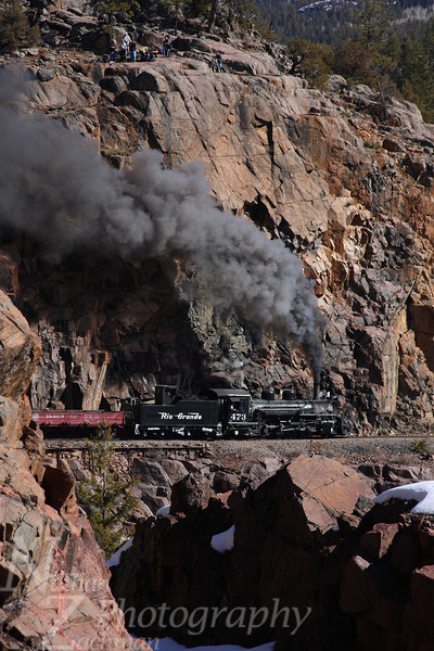 Rio Grande 473, on the High Line Horseshoe Curve, Rockwood, Colorado.