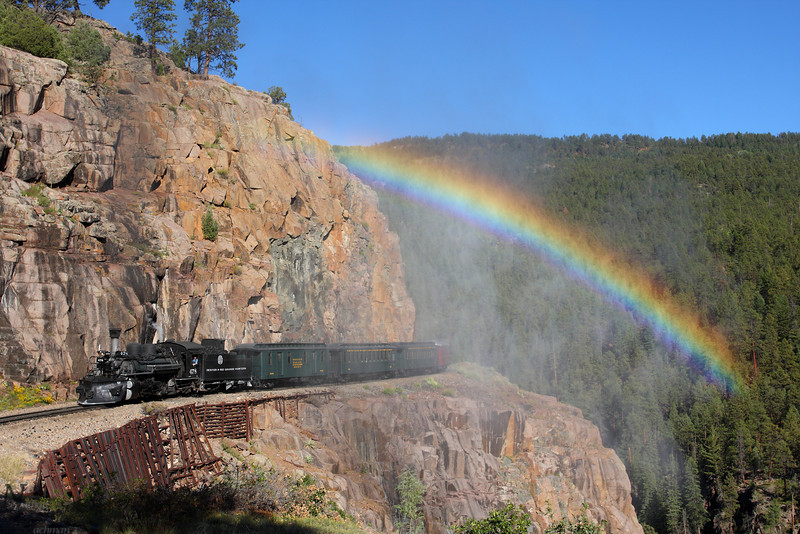 Rio Grande 478,under a rainbow on the High Line Horseshoe Curve near Rockwood, Colorado.