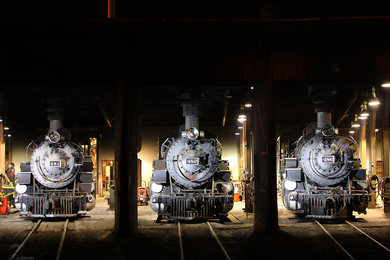 Three K36's in the Roundhouse at Durango, Colorado.