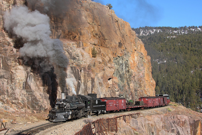 Rio Grande work extra 478, High Line Horseshoe Curve near Rockwood, Colorado.